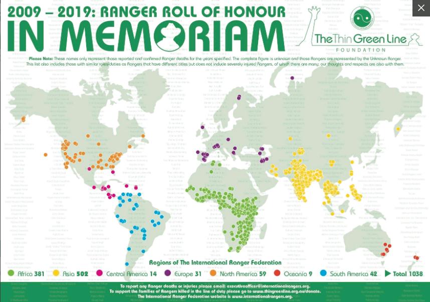 Mapa de Rangers fallecidos 2009-2019